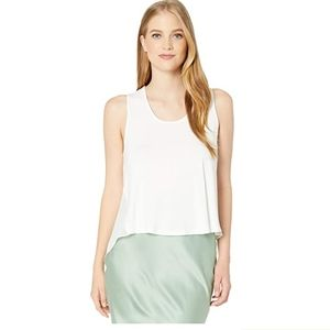 BCBGMAXAZRIA Knit Front Woven Back Tee Off-White